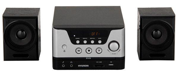 Микросистема Hyundai H-MS160 черный/серебристый 12Вт/CD/CDRW/DVD/DVDRW/FM/USB/SD/MMC/MS