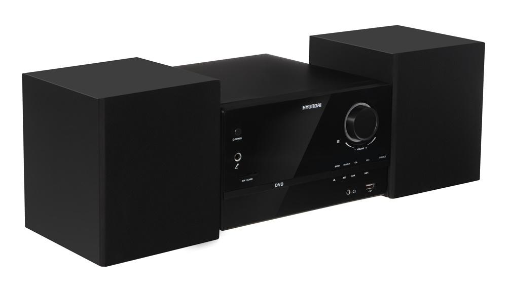 Микросистема Hyundai H-MS220 черный/серебристый 30Вт/CD/CDRW/DVD/DVDRW/FM/USB/SD/MMC/MS