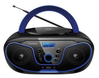 Аудиомагнитола Hyundai H-PCD160 черный/синий 4Вт/CD/CDRW/MP3/FM(dig)/USB