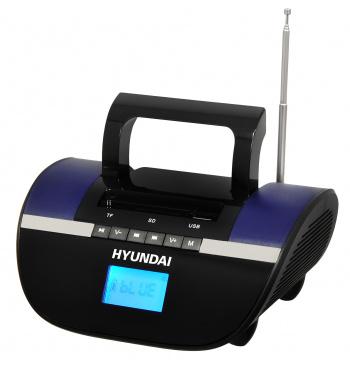 Аудиомагнитола Hyundai H-PAS220 черный/синий 6Вт/MP3/FM(dig)/USB/SD