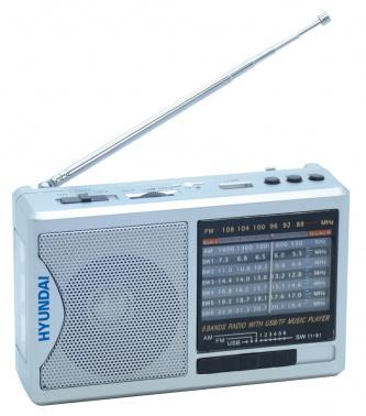 Радиоприемник портативный Hyundai H-PSR160 серебристый USB microSD