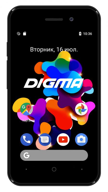 Смартфон Digma Q401 3G HIT 8Gb 1Gb черный моноблок 3G 2Sim 4