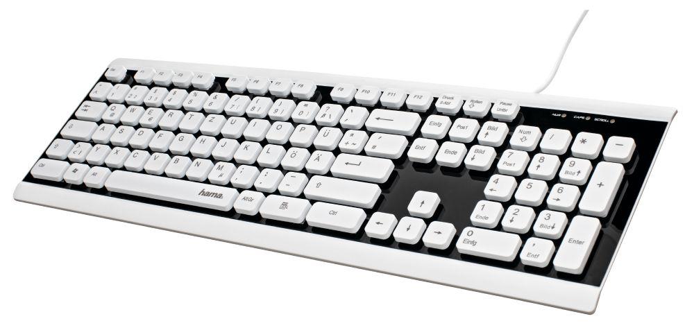 Клавиатура Hama Covo черный/белый USB slim для ноутбука