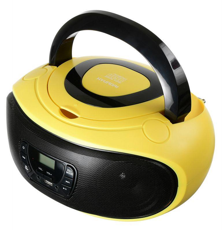 Аудиомагнитола Hyundai H-PCD300 желтый/черный 4Вт/CD/CDRW/MP3/FM(dig)/USB/SD/MMC/microSD
