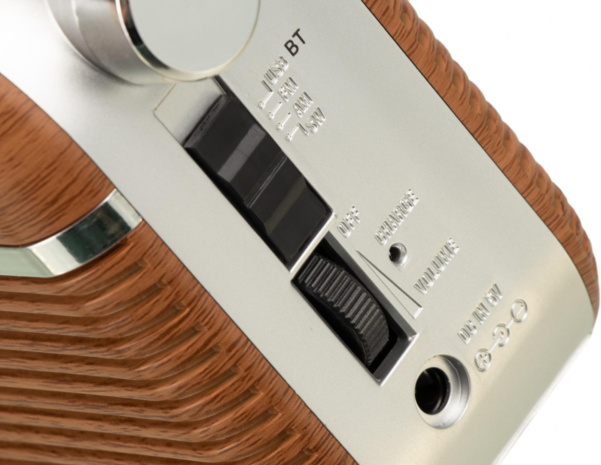 Радиоприемник портативный Hyundai H-PSR200 дерево коричневое/серебристый USB microSD