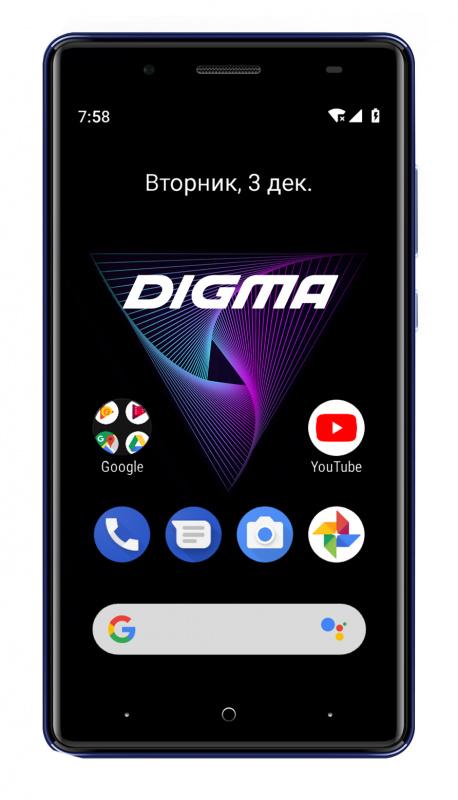 Смартфон Digma Q500 3G HIT 8Gb 1Gb синий моноблок 3G 2Sim 5