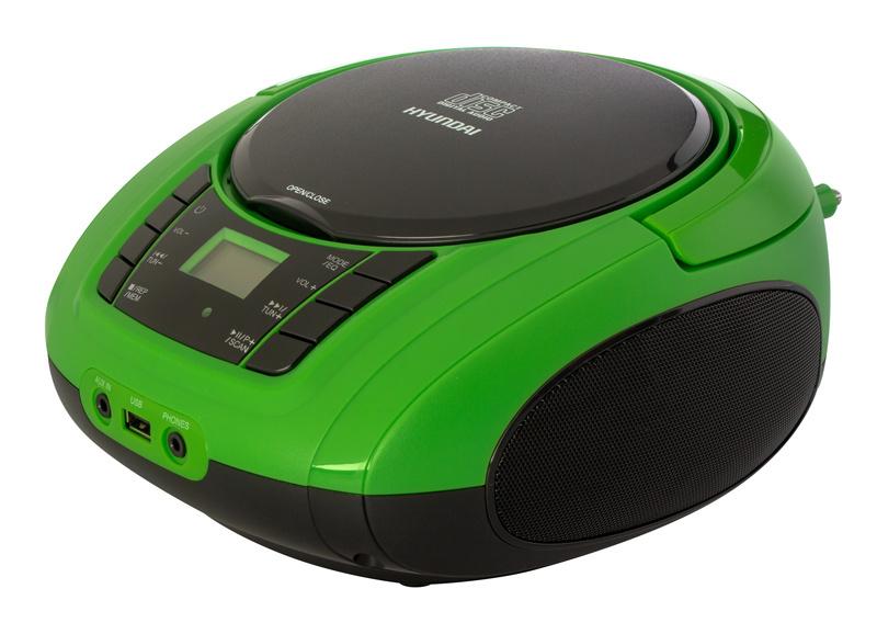 Аудиомагнитола Hyundai H-PCD360 черный/зеленый 4Вт/CD/CDRW/MP3/FM(dig)/USB/BT/SD/MMC/microSD