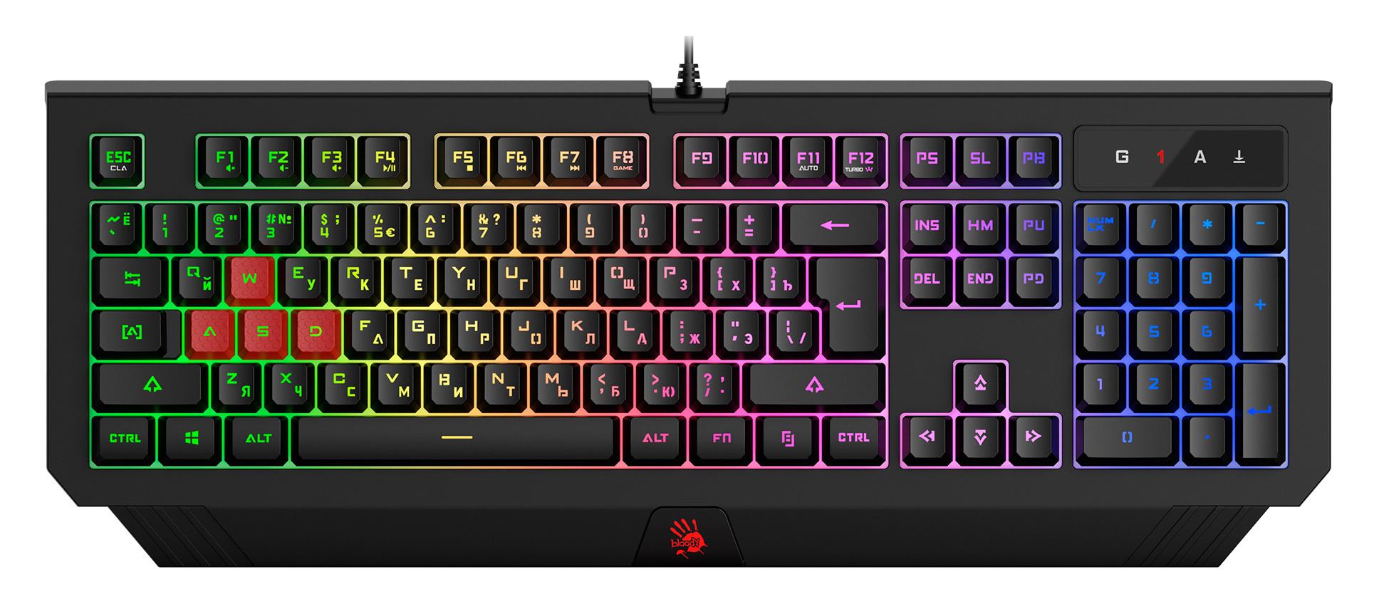 Клавиатура A4 Bloody B125N черный USB Multimedia for gamer LED