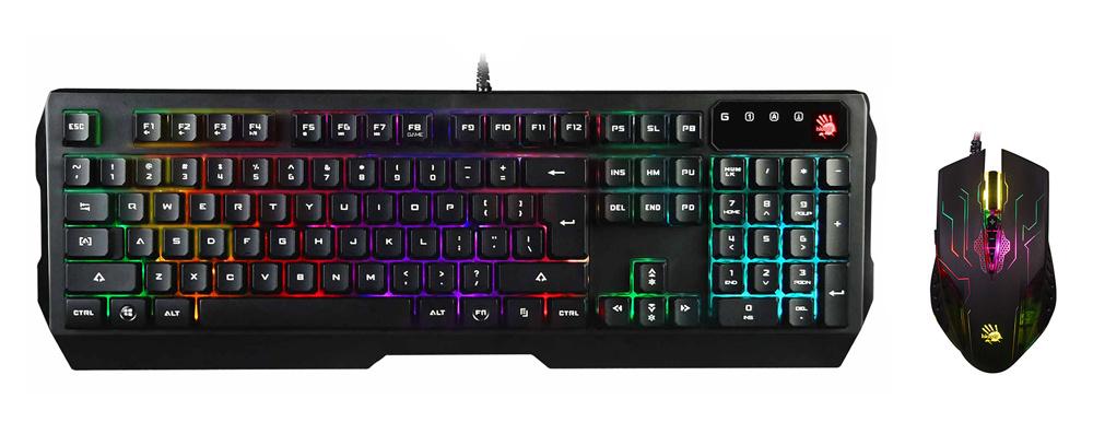 Клавиатура + мышь A4 Bloody Q1300 (Q135 Neon + Q50) клав:черный/красный мышь:черный/красный USB Multimedia LED