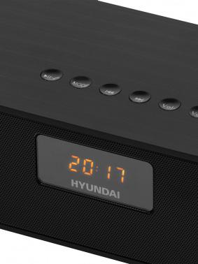 Радиобудильник Hyundai H-RCL340 черный LCD подсв:красная часы:цифровые FM