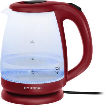 Чайник электрический Hyundai HYK-G1002 1.7л. 2200Вт бордовый (корпус: стекло)