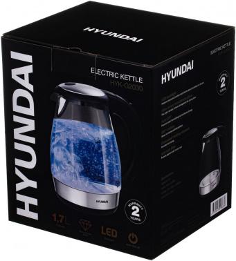 Чайник электрический Hyundai HYK-G2030 1.7л. 2200Вт черный (корпус: стекло)
