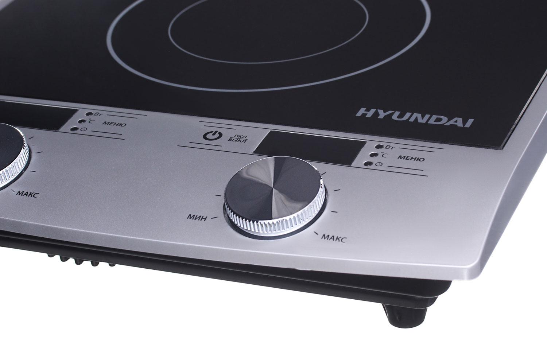 Плита Индукционная Hyundai HYC-0103 серебристый/черный стеклокерамика (настольная)