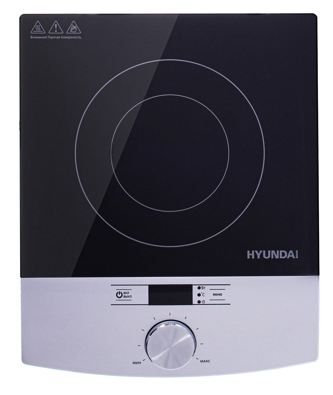 Плита Электрическая Hyundai HYC-0102 серебристый/черный стеклокерамика (настольная)