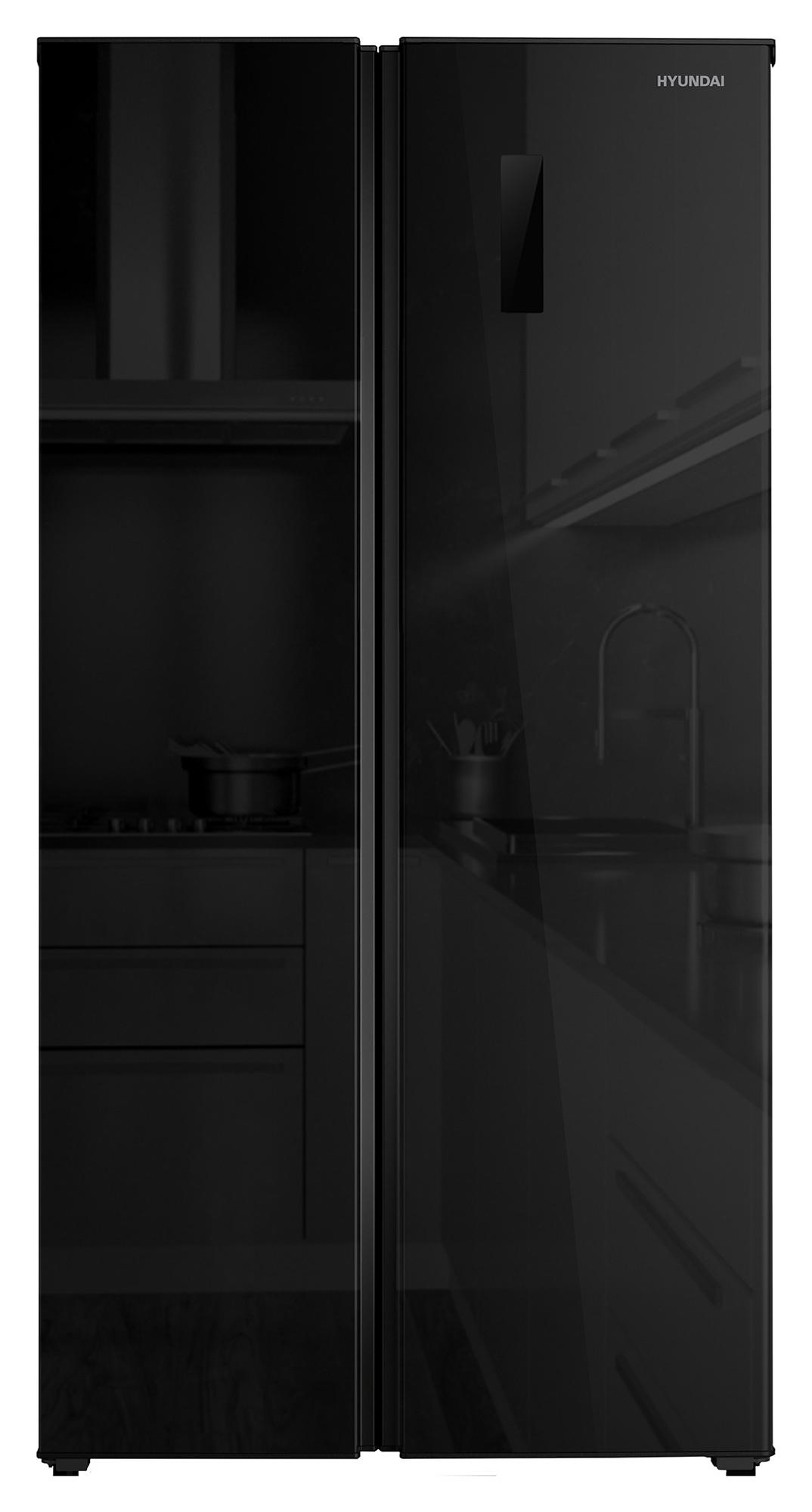 Холодильник Hyundai CS5005FV черное стекло (двухкамерный)