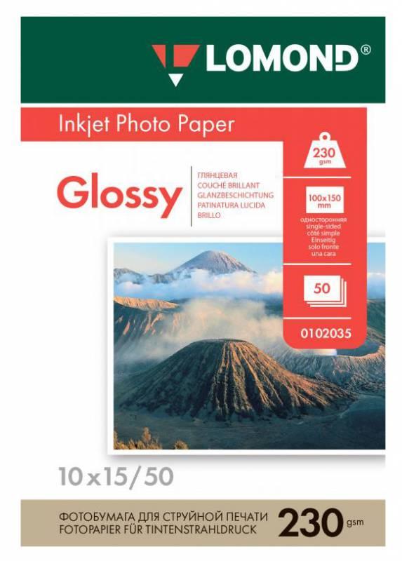 Фотобумага Lomond 0102035 10x15/230г/м2/50л./белый глянцевое для струйной печати