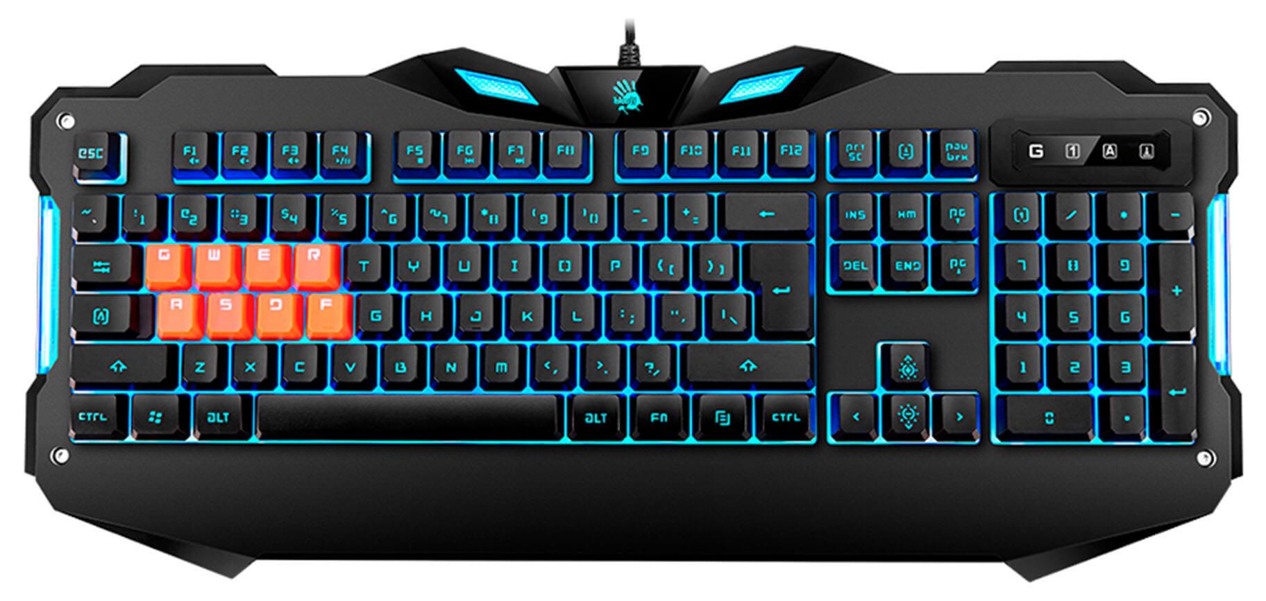 Клавиатура A4 Bloody B328 черный USB for gamer LED