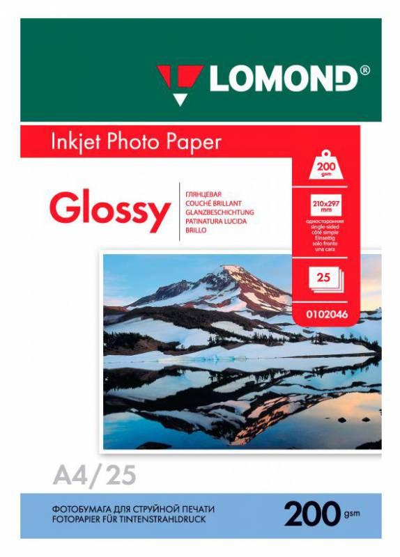 Фотобумага Lomond 0102046 A4/200г/м2/25л./белый глянцевое для струйной печати