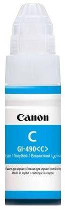 Картридж струйный Canon GI-490C 0664C001 голубой (70мл) для Canon Pixma G1400/2400/3400