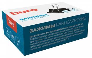 Зажимы Buro 065000501 сталь 41мм черный (упак.:12шт) картонная коробка