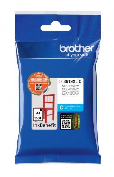 Картридж струйный Brother LC3619XLC голубой (1500стр.) для Brother MFC-J3530DW/J3930DW