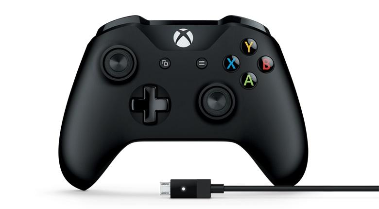 Геймпад Microsoft Xbox One + USB кабель для ПК черный USB Беспроводной виброотдача обратная связь