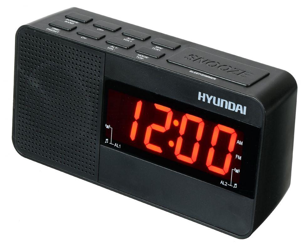 Радиобудильник Hyundai H-RCL200 черный LED подсв:красная часы:цифровые AM/FM