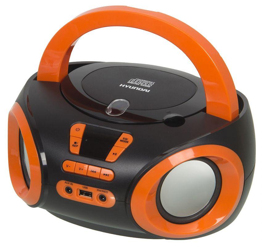 Аудиомагнитола Hyundai H-PCD120 черный/оранжевый 4Вт/CD/CDRW/MP3/FM(dig)/USB