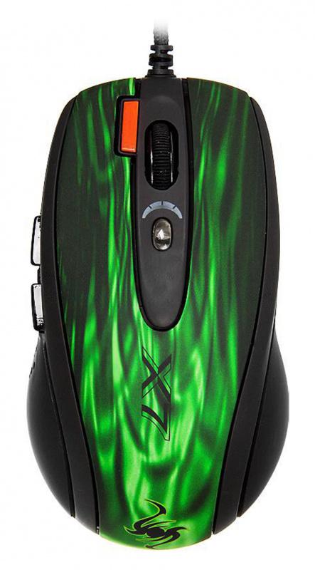 Мышь A4 XL-750BK зеленый/черный лазерная (3600dpi) USB2.0 (6but)