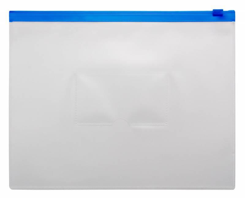 Анонс-изображение товара папка-конверт на молнии бюрократ а5 250*196мм, карман для визитки, 0,15мм, bpm5ablue/816731