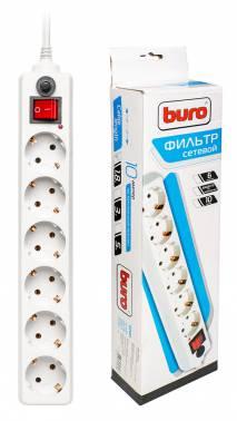 Сетевой фильтр Buro 600-6FT 1.8м (6 розеток) белый