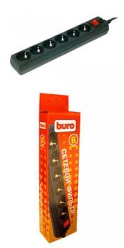 Сетевой фильтр Buro 600SH 3м (6 розеток) черный