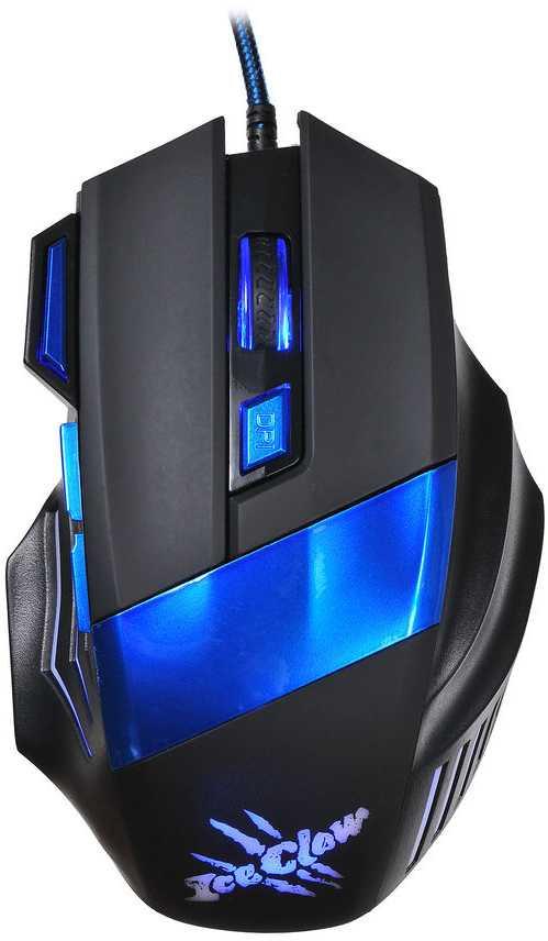 Мышь Oklick 775G Ice Claw черный/синий оптическая (2400dpi) USB (6but)